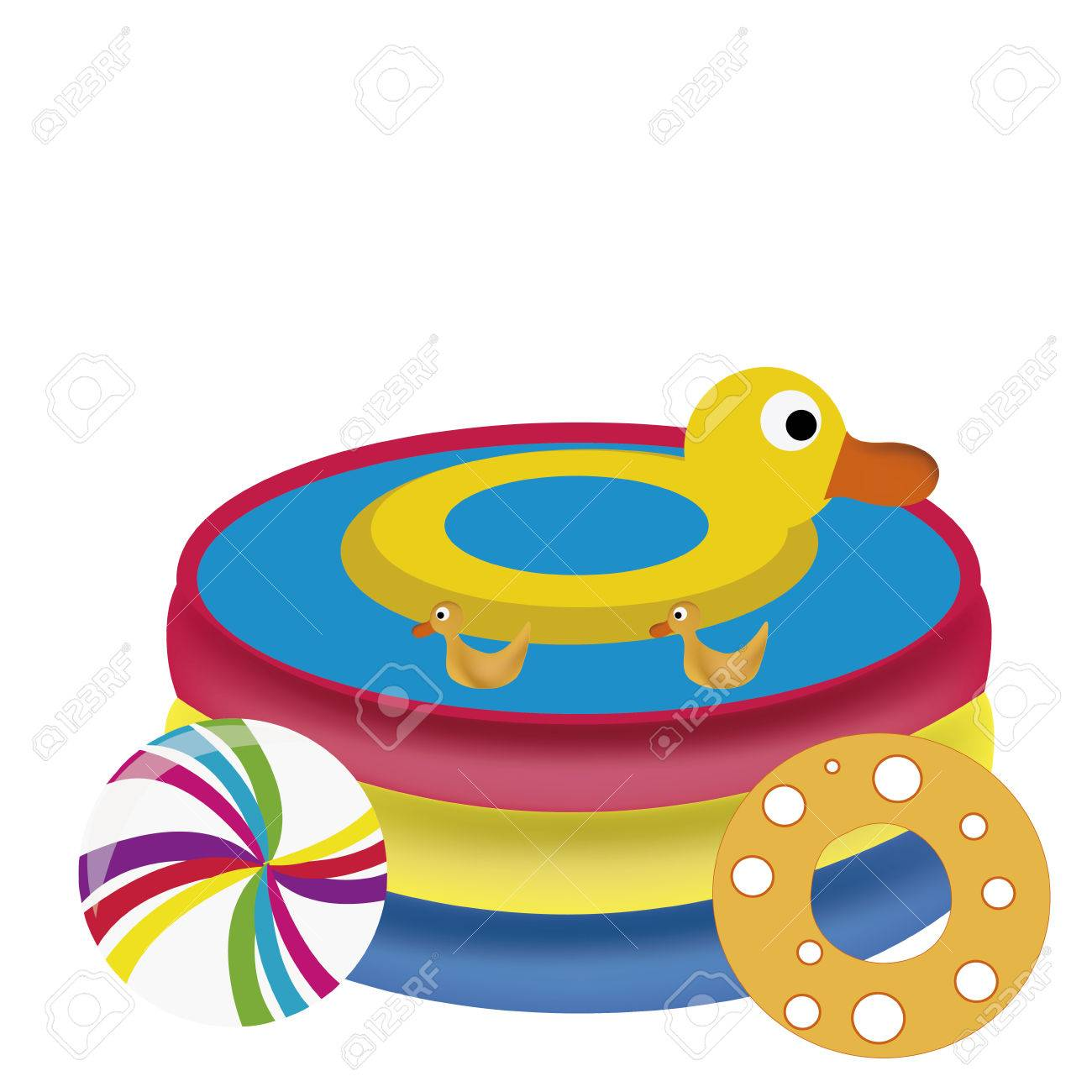 1300x1300 A Pool Full Of Water With A Duck Float And Some Balls Royalty Free