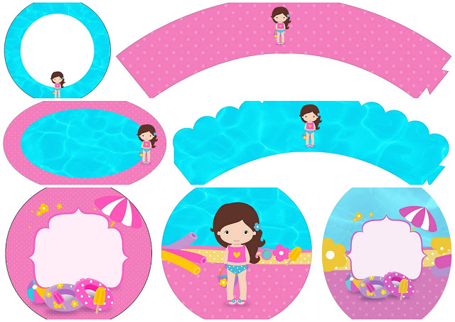 640x453 Brunette Girl Pool Party Free Printable Wrappers And Toppers