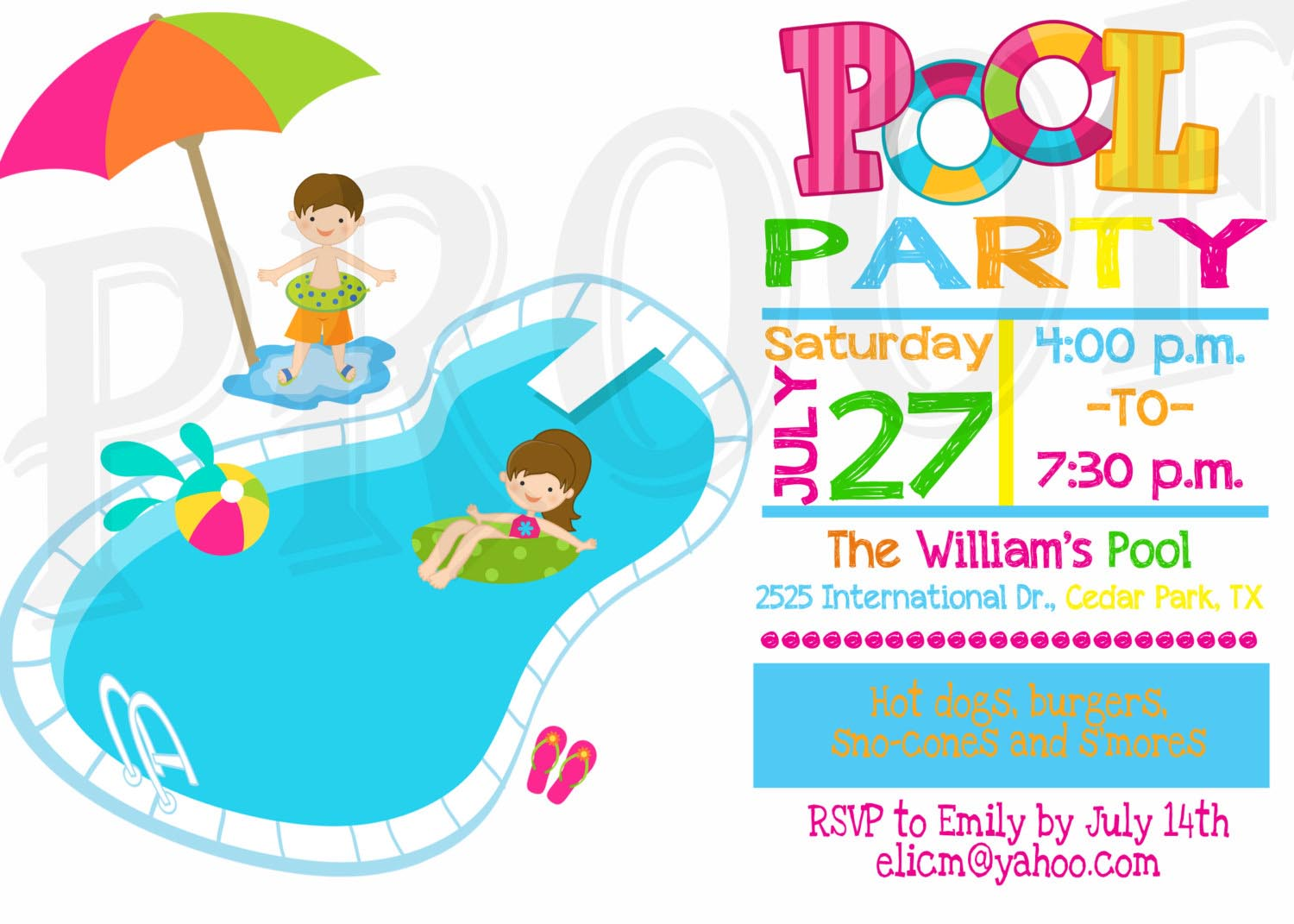 1500x1071 Kids Pool Party Invitation Pool Party Kid Pool