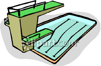 350x229 Clipart Picture Of A Pool With High And Low Diving Boards