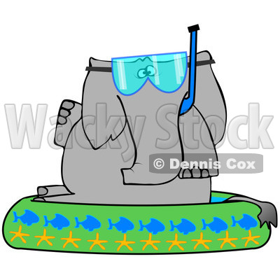 400x400 Free (Rf) Clipart Illustration Of An Elephant Wearing A Snorkel