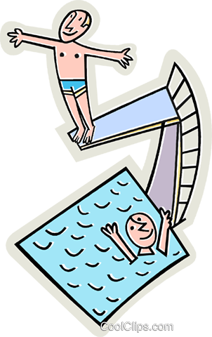 302x480 Swimming Pool With Diving Board Royalty Free Vector Clip Art