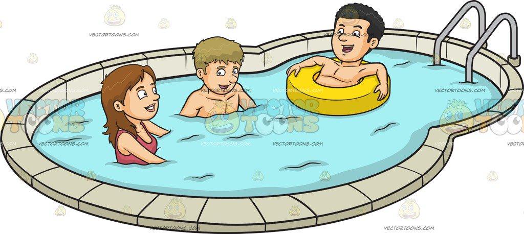 1024x458 Three Friends Enjoying A Dip In The Pool Cartoon Clipart