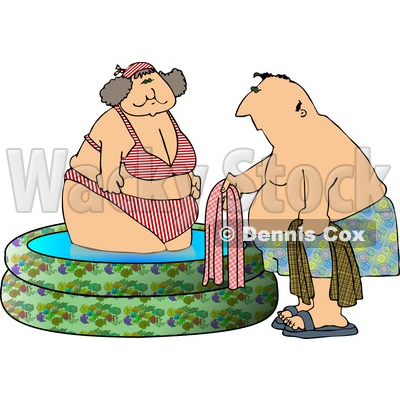 400x400 Woman Getting Out Of A Swimming Pool With A Man Clipart Djart