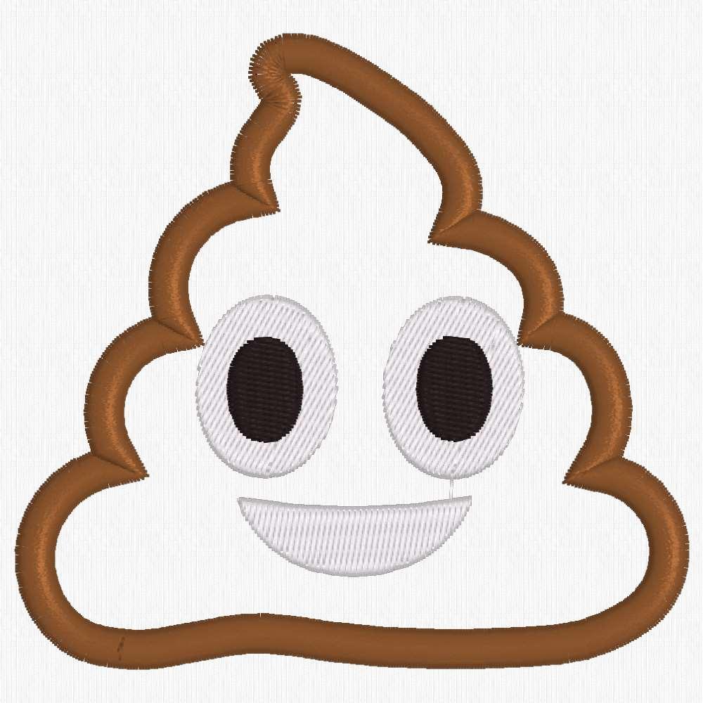 1000x1000 Poop Emoji Applique Machine Embroidery Design Download