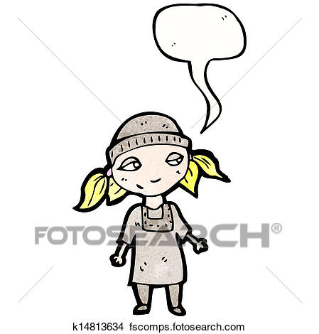 449x470 Clipart of cartoon poor orphan girl with speech bubble k14813634
