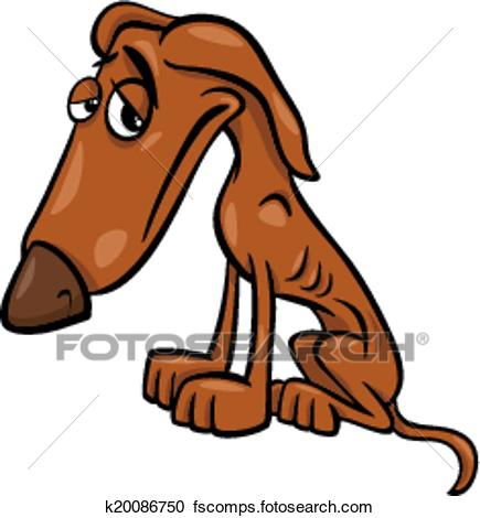 435x470 Clipart of poor hungry dog cartoon illustration k20086750