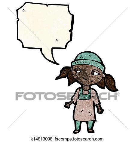 449x470 Clip Art Of Cartoon Poor Girl K14813008