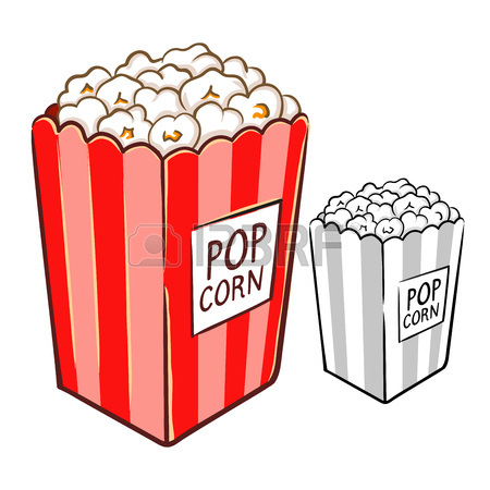 450x450 Hand Drawing Of Yummy Delicious Popcorn In Vector Illustration