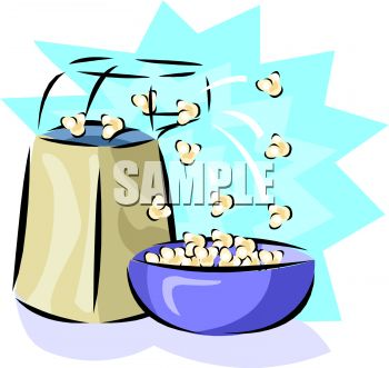 350x331 Picture Of An Air Popper Popping Popcorn Into A Bowl With A Blue