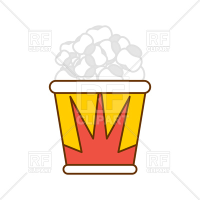 400x400 Popcorn Packaging. Paper Box Popped Corn. Royalty Free Vector Clip