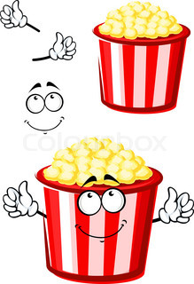 219x320 Popcorn In Cardboard Box With Tickets Cinema Stock Vector