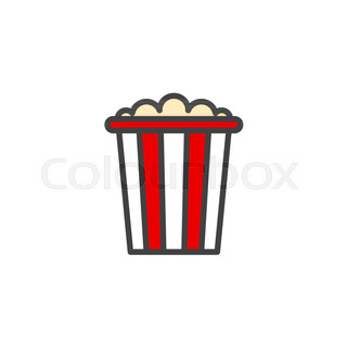 320x320 Popcorn Box Flat Icon, Vector Sign, Colorful Pictogram Isolated