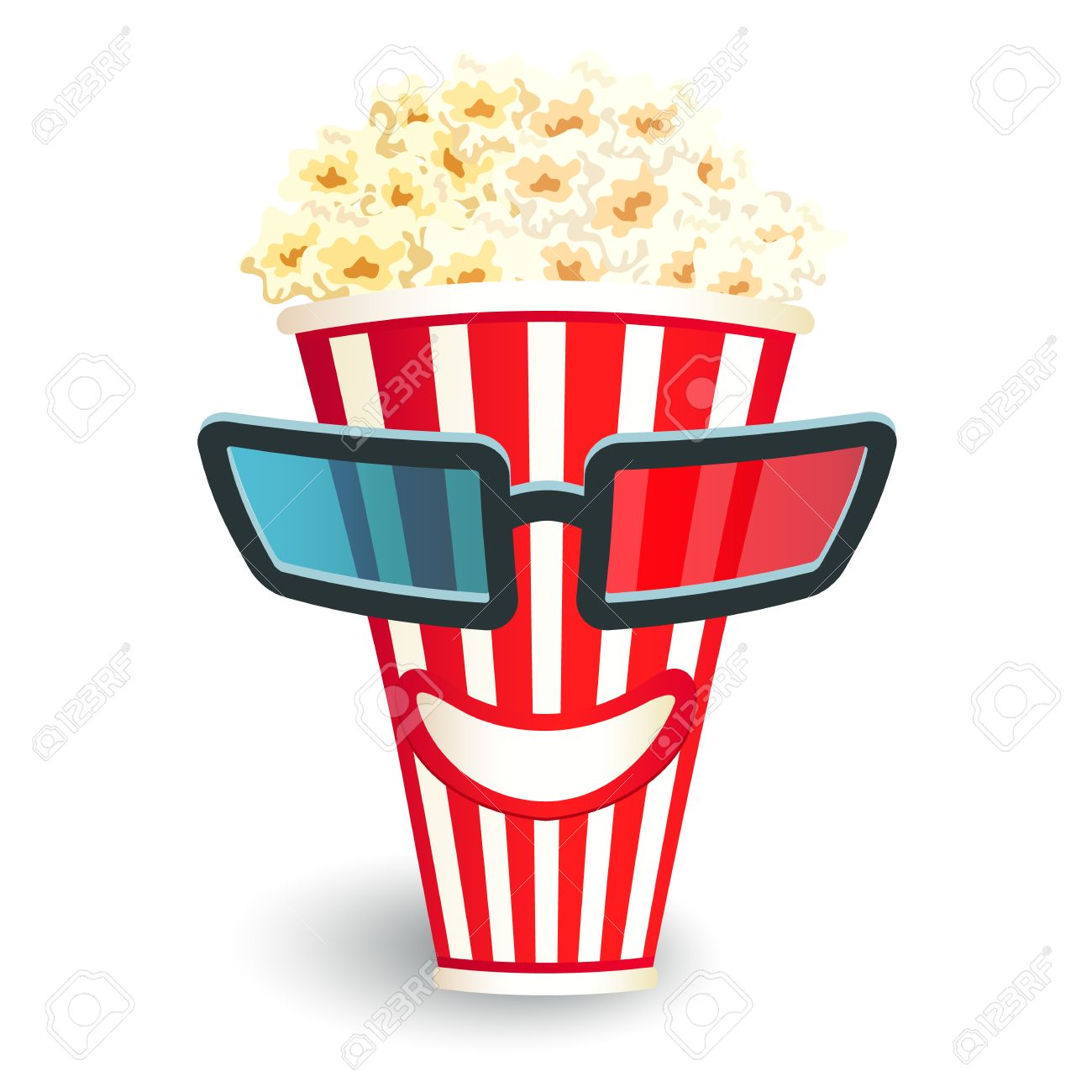 1300x1300 3d Glasses Put On A Box With Popcorn, Who Smiles Royalty Free
