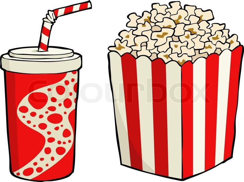 800x595 Box Of Popcorn With Soda Vector Illustration Stock Vector