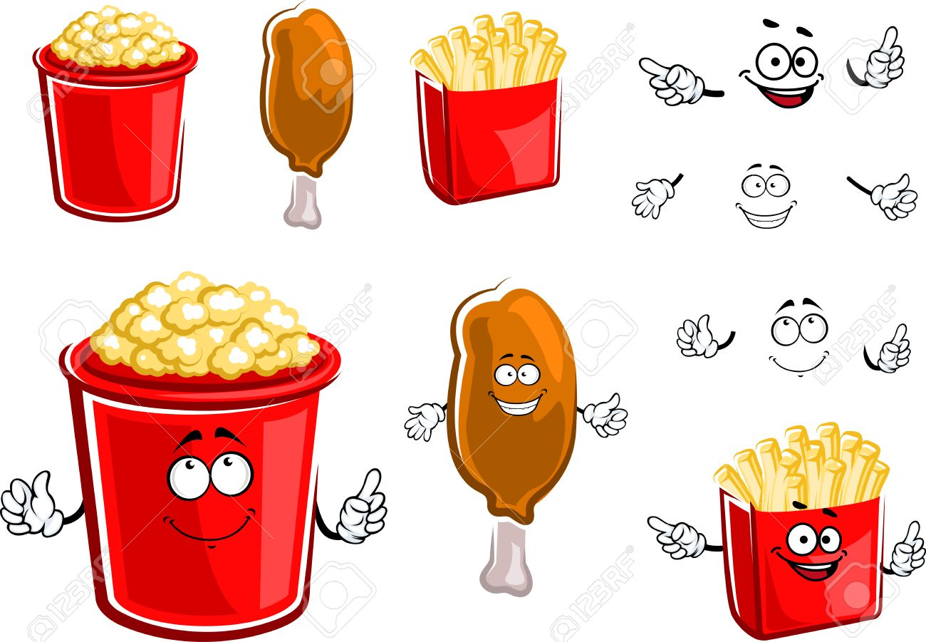 1300x901 Cartoon Fast Food French Fries Box, Fried Chicken Leg And Popcorn