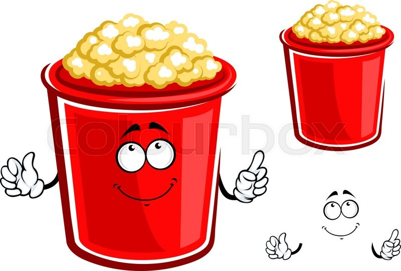 800x540 Cartoon Bucket Of Popcorn Character With Red Container Of Sweet