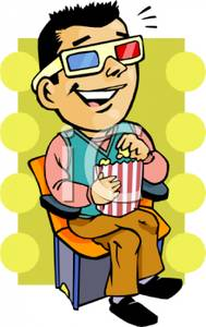 189x300 Colorful Vintage Style Cartoon Of A Man At 3d Movie Eating Popcorn