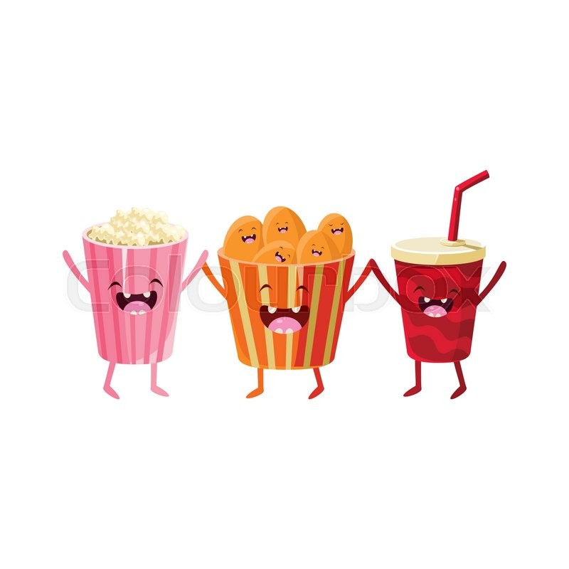 800x800 Popcorn, Soda And Chips Cartoon Friends Colorful Funny Flat Vector