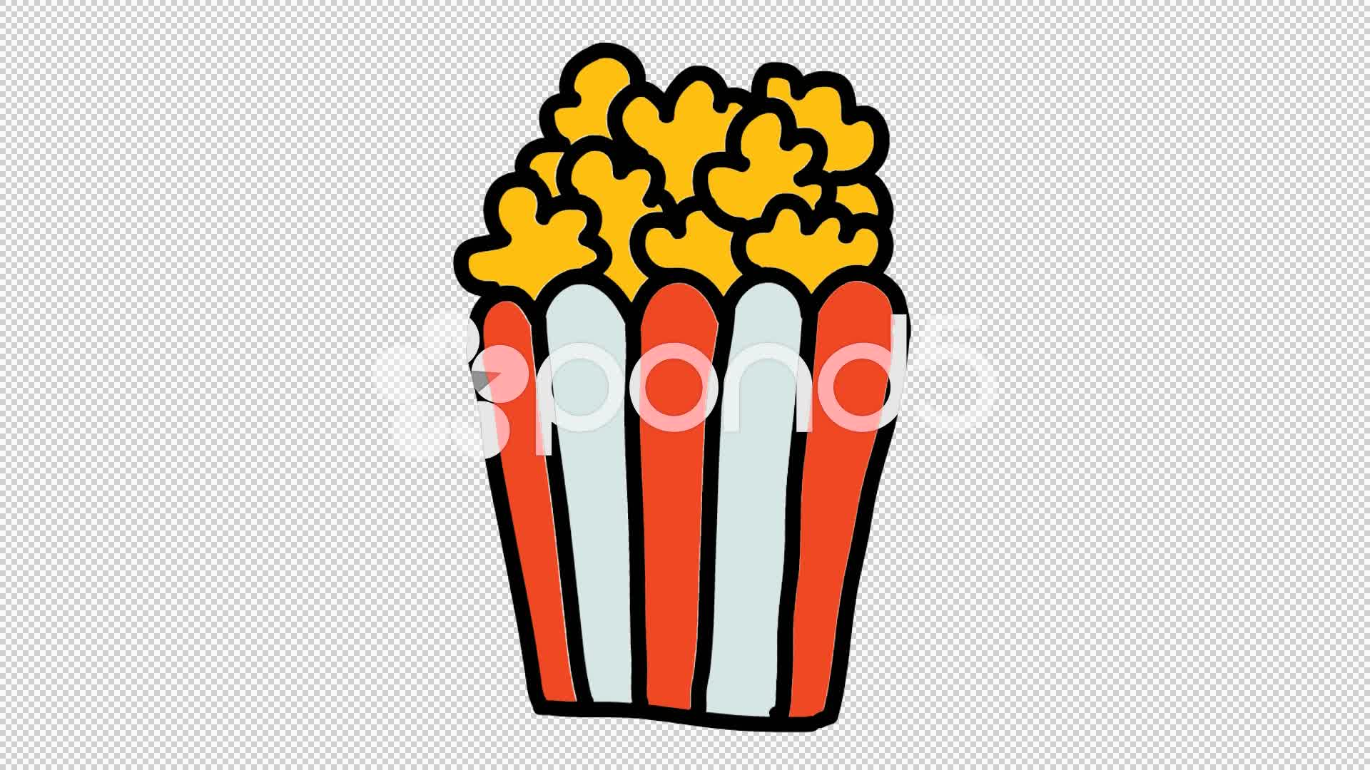 1920x1080 Popcorn Animation With Transparent Background ~ Footage