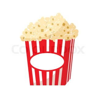 320x320 Popcorn In A Striped Tub Illustration On White Background Stock