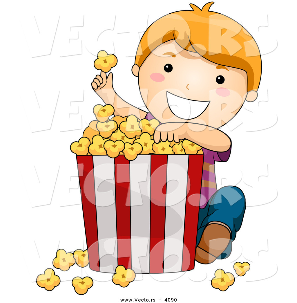 1024x1044 Vector Of Happy Cartoon Boy Eating Popcorn From Big Bucket By Bnp