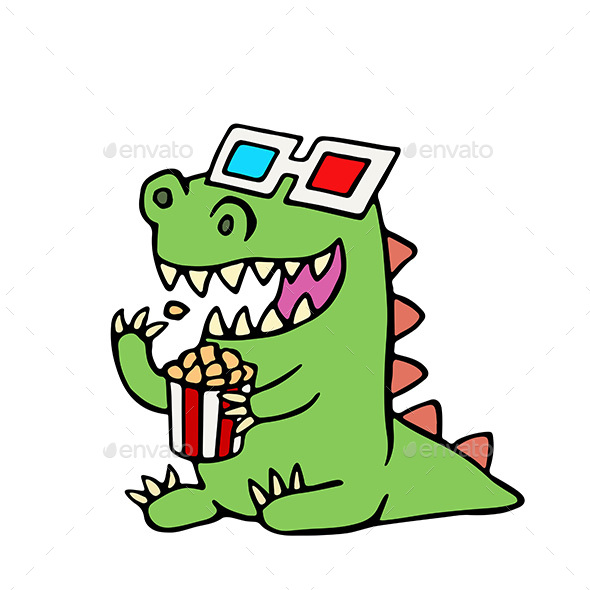 590x590 Cartoon Dragon In Stereo Glasses And A Box Of Popcorn. By Likozor