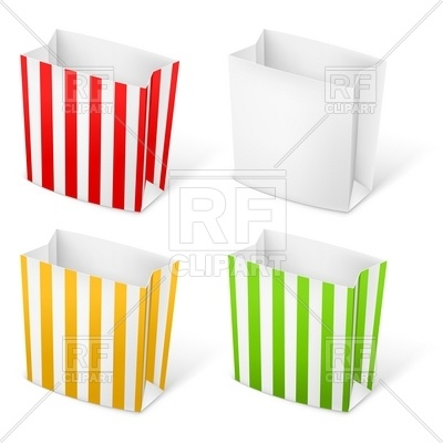 400x400 Empty Stripped Paper Bags For Popcorn Or French Fries Royalty Free