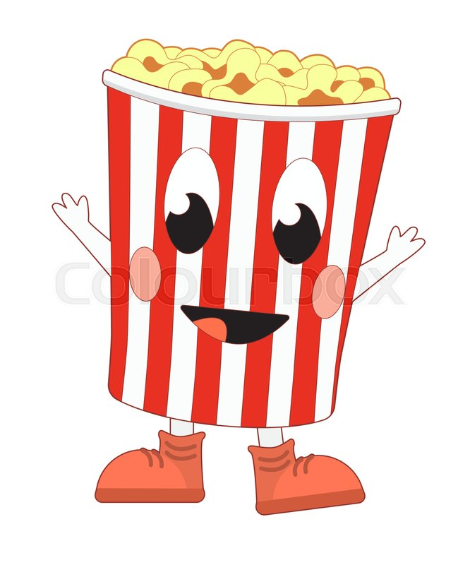666x800 Happy Cartoon Popcorn Bucket. Vector Illustration Isolated