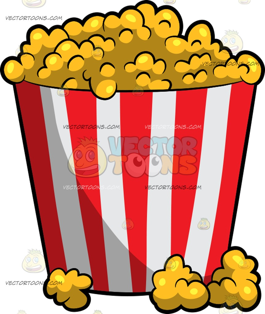 864x1024 A Bucket Of Movie Theater Popcorn Cartoon Clipart