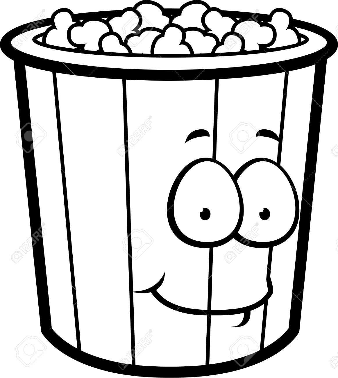 1163x1300 A Cartoon Popcorn Bucket Smiling And Happy. Royalty Free Cliparts