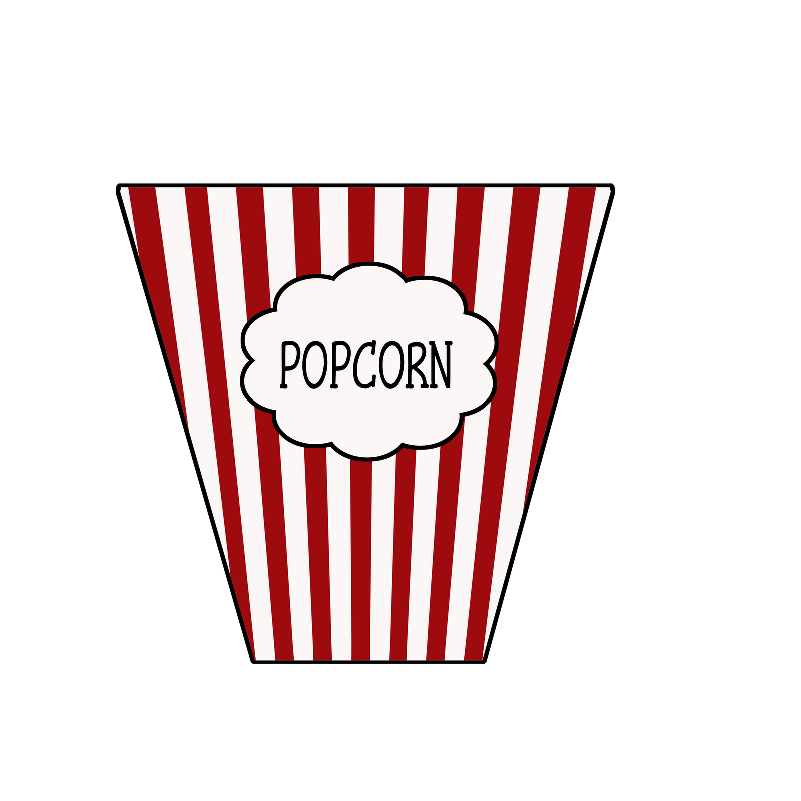 1600x1600 Popcorn Black And White Popcorn Bucket Clipart