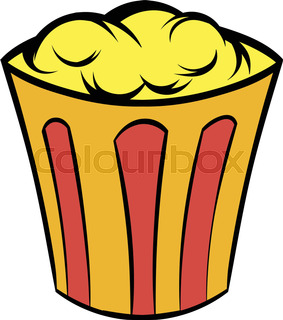 283x320 Popcorn In A Striped Tub Illustration On White Background Stock