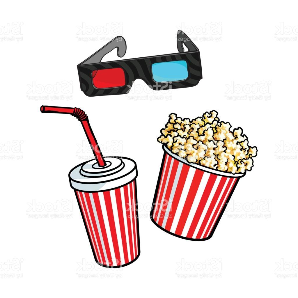 1024x1024 Top Cinema Objects Popcorn Bucket Glasses And Soda Water Vector