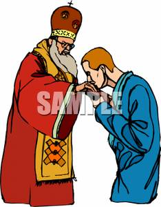 234x300 Man Kissing The Pope's Hand Clipart Image