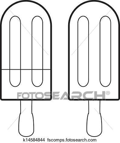 396x470 Clip Art Of Ice Cream Stick Vector K14584846