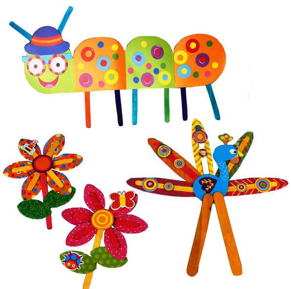 597x593 9 Pcs Children Diy Cartoon Color Popsicle Stick Paper Stickers