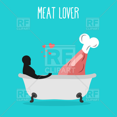 400x400 Meat Lovers. Pork And Man In Bath. Royalty Free Vector Clip Art