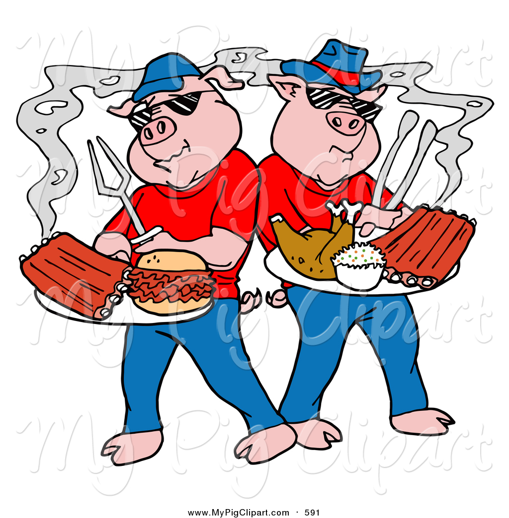 1024x1044 Swine Clipart Of Cartoon Bbq Pigs Posing With Cooked Ribs, Pulled