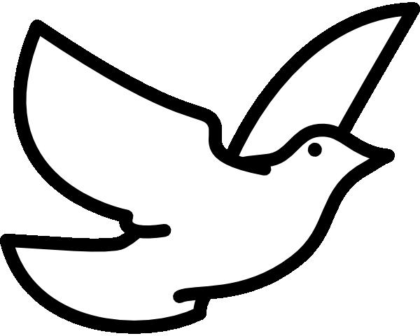 600x480 Black And White Dove Clipart