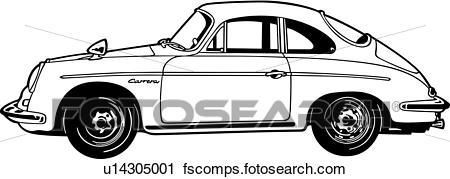 450x179 Clipart Of , 1963, 356c, Automobile, Car, Classic, Porsche, Sport