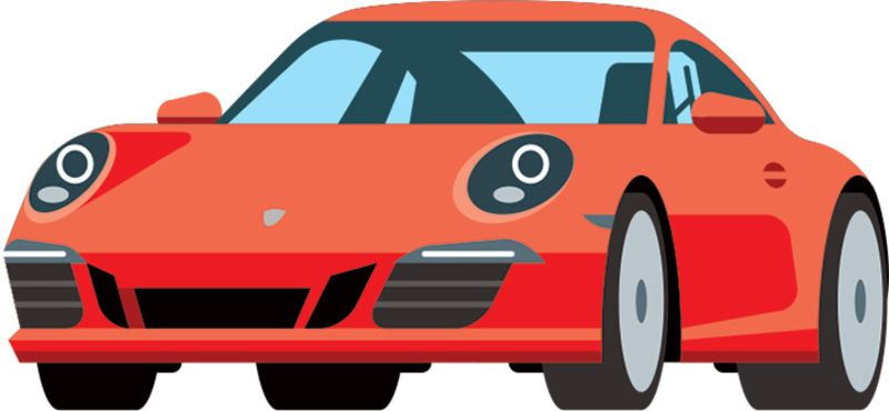 800x370 Red Clipart Porsche