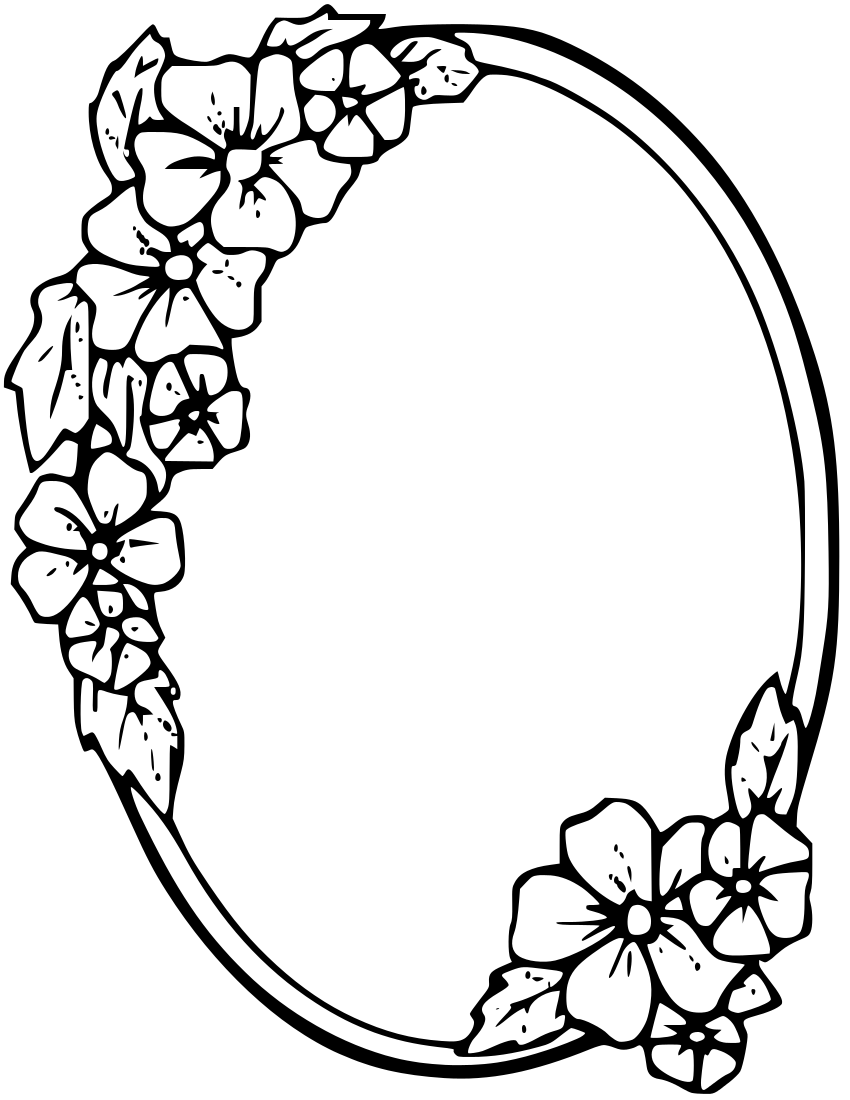850x1100 Floral Oval Frame Clipart Boarders Oval Frame
