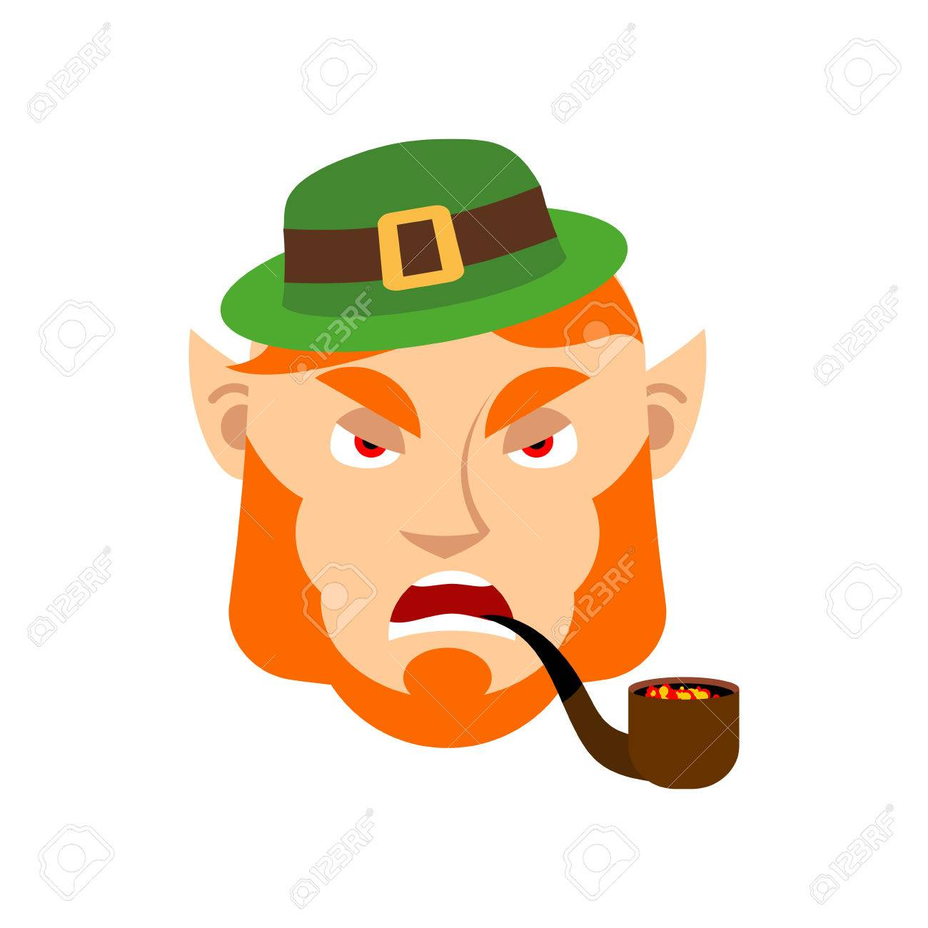 1300x1300 Leprechaun Angry. Dwarf With Red Beard Aggressive Emoji. Irish