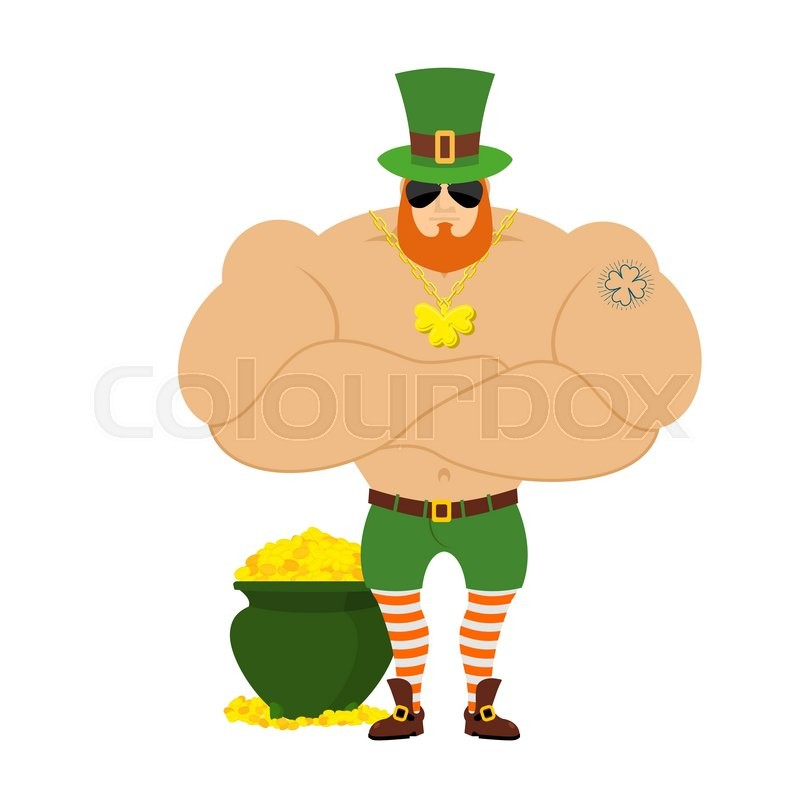 800x800 Leprechaun Happy. Dwarf With Red Beard Merry Emoji. Irish Elf