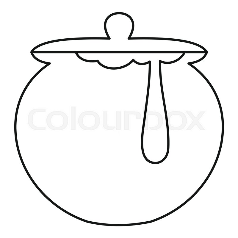 800x800 Honey Pot Icon. Outline Illustration Of Honey Pot Vector Icon