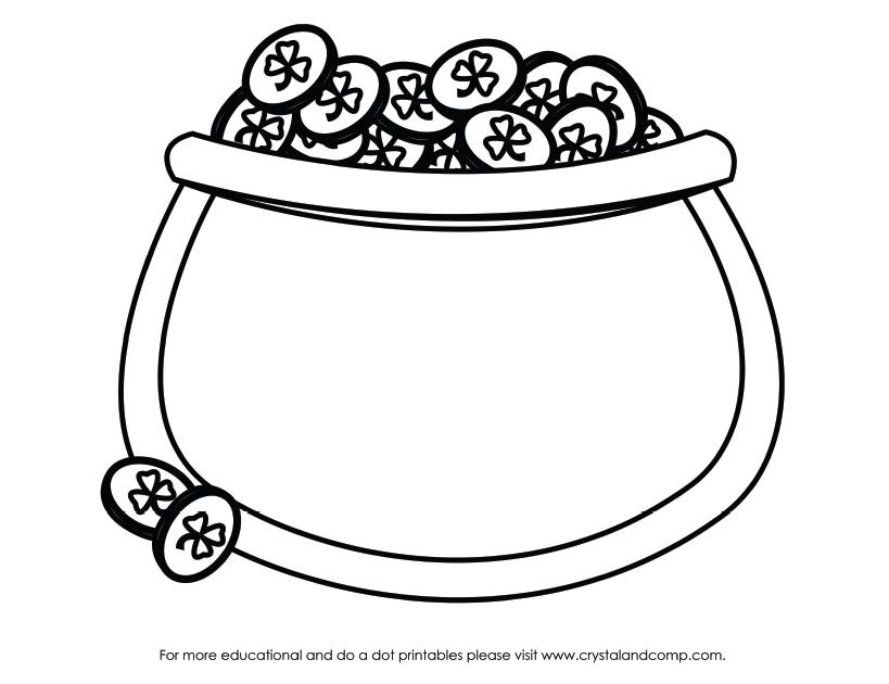 819x630 Pot Of Gold Clipart Outline Clipartfest