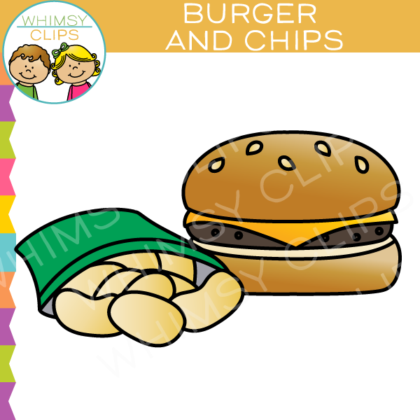 600x600 Cheeseburger And Chips Clip Art , Images Amp Illustrations Whimsy