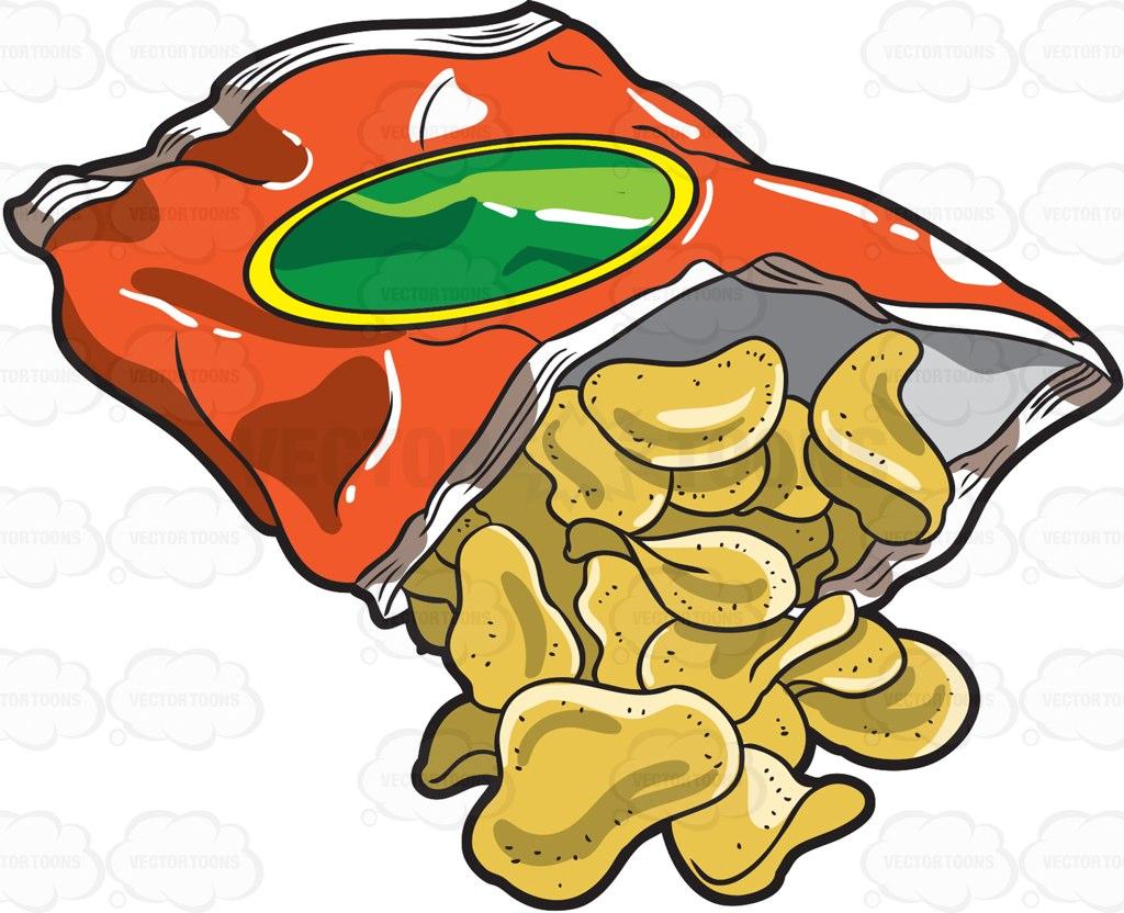 1024x832 A Bag Of Crunchy Potato Chips Cartoon Clipart