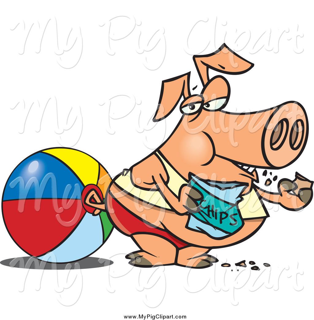 1024x1044 Swine Clipart Of A Cartoon Fat Pig Eating Potato Chips On A Beach